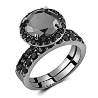 Caperci Black Sterling Silver Round Black Diamond Spinel Solitaire Bridal Wedding Ring Set