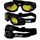 Birdz Kite Black Frame Motorcycle Goggles with Yellow 2.0x Bifocal Shatterproof Anti-Fog Polycarbonate Lenses and Vented Open Cell Foam