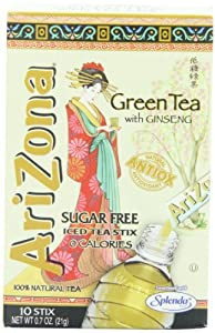 AriZona Green Tea with Ginseng Sugar Free Iced Tea Stix, 0.7-Ounce Boxes (Pack of 6)