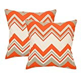 Khrysanthemum Oxford Cotton Geometrical Print Waves Cushion Cover (Set Of 2) - 16 X 16 Inches, Multi