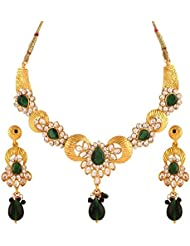 Variation Green Stone Studded Party Wear Necklace Set For Women (VD13997)
