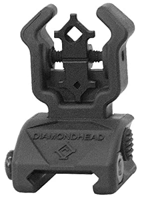 Diamondhead Polymer (Flip-Up) Diamond REAR Sight - with NiteBrite insert (Black) LIFETIME WARRANTY by Diamondhead Usa