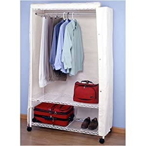 Heavy Duty Garment Rack with Wheels & Cover - White