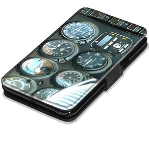 Avions 10023, Cabine de Pilotage, Etui Personnalisé Coque Housse Cover Coquille en Cuir Noir avec l'Image Coloré pour Samsung Galaxy Note 2 N7100 .