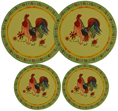 Set 4, Round Stove Top Burner Covers - Rooster Design. #82-574 (Rooster Stove Burner Covers compare prices)