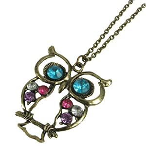 Stone River Jewellery Blue Eyed Bronze Tone Owl Pendant Necklace Vintage Style