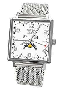 Davis-1731MB トリプル日付とムーンフェイズメンズスクエア腕時計 Mens Square triple date and Moonphase watch-White dial-Mesh Metal strap