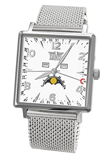 Davis-1731MB-Mens Square Moonphase Watch-White Dial-Day Date Month-Mesh strap