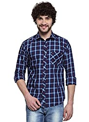 D'INDIAN CLUB Men's Blue Checkered Cotton Casual Shirt