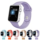 Apple Watch Replacement Band,Teslasz Soft Silicone Replacement Sports Wristbands Straps for Apple iWatch All Models (Purple 38 MM)
