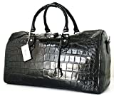 100% PREMIUM GRADE BELLY SKIN GENUINE CROCODILE LEATHER HANDBAG CLOTHING BAG HOBO BLACK RIVER NEW W/Strap&Locked