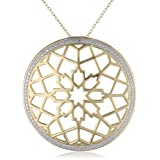 18k Yellow Gold Plated Sterling Silver Two-Tone Flower Filigree Round Pendant Necklace, 18