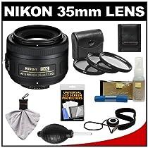 Nikon 35mm f/1.8 G DX AF-S Nikkor Lens, 3 UV/FLD/CPL Filters and Accessory Kit Digital SLR Camera