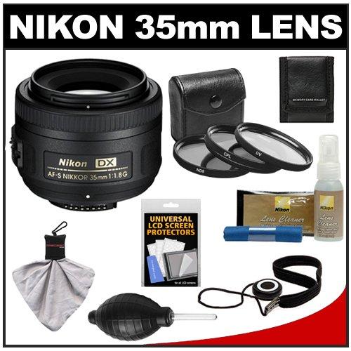 Nikon 35Mm F/1.8 G Dx Af-S Nikkor Lens + 3 Uv/Cpl/Nd8 Filters + Accessory Kit For D3100, D3200, D3300, D5100, D5200, D5300, D7000, D7100 Dslr Cameras