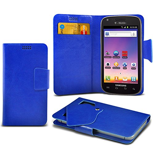 ONX3 Blue Samsung Galaxy S Blaze 4G T769 Super Thin Faux Leather Wallet Flip Suction Pad Skin Case Cover With Credit Debit Cards Slot