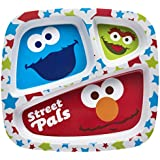 Zak! Designs 3-Section Plate featuring Sesame Street Graphics, Break-resistant and BPA-free Plastic