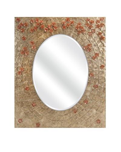 Glimmer Capiz Shell Pink Flower Mirror
