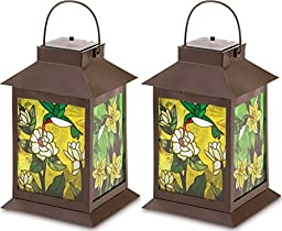 2 Stain Glass Solar Powered Lantern Table Centerpieces Patio Garden