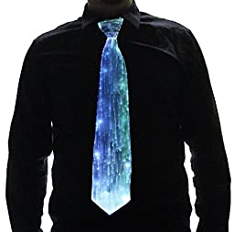 HolyThreads! Fiber Optic Tie (White Tie, 7 Colors) - Light Up Tie - Glow Tie (Medium)