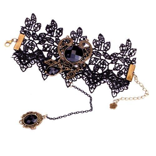 Yazilind Spitze-Armband- Ring Feine schwarze Spitze- Armband Resin Stein Shiny Metallring Schmuck-Set für Frauen