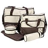 EchoAcc®マザーズバッグ 大容量 多機能 ハンドバッグ ショルダーバッグ シンプル 軽量 ベビー用品収納バッグ マザーズバッグ、食品袋、哺乳瓶ケース、おむつ替えシート 5点セット (コーヒー)