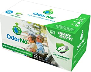 OdorNo Odor-Barrier Eco-Friendly Disposable Bags for Diapers, Pet Waste, Household Use (2Gallon Adult - 20 Bags) from OdorNo