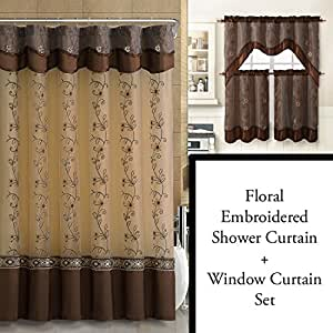 Chocolate brown shower curtain and 3 pc for Bathroom decor on amazon