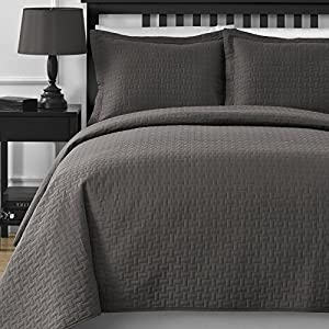 Fall Saving - Extra Lightweight Comfy Bedding Frame 3-piece Bedspread Coverlet Set (King/Cal King, Grey)