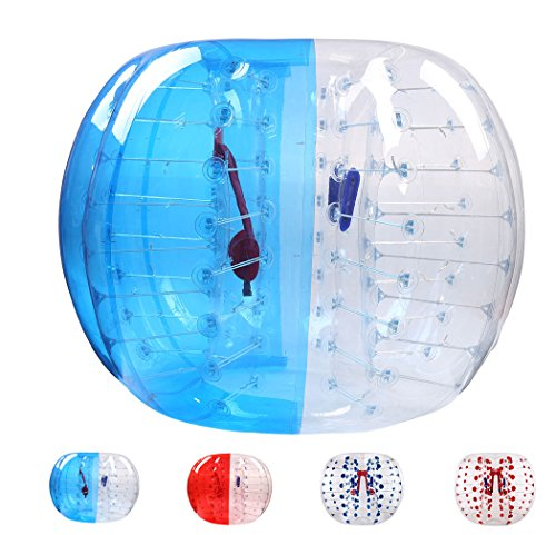 Bubble Soccer Balls Dia 5' (1.5m) Human Hamster Ball, Bubble Football,Bumper Ball, Zorbing Ball, Knocker Ball, smash ball stress ball Loopy Ball Blue and Clear (Soccer Balls Package compare prices)