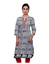 Adesa Women's Cotton Self Print Regular Fit Kurti - B00VHSKBHG