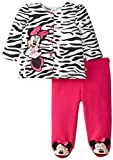 Disney Baby Girls Newborn Minnie Mouse Jacket and Footed Pant Set- Zebra, White, 6-9 Months