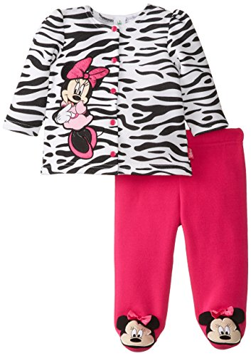 Disney Baby Girls Newborn Minnie Mouse Jacket And Footed Pant Set- Zebra, White, 3-6 Months front-708939