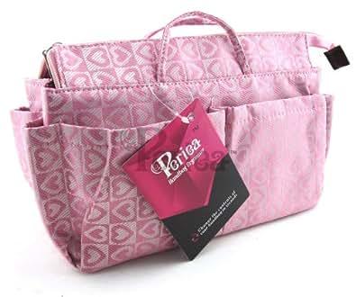 Periea - Organiseur de sac à main + mousqueton, 13 Compartiments - Lucy (Coeurs Roses)