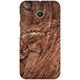 AMAN Brown Colour Wood 3D Back Cover For Motorola Moto E
