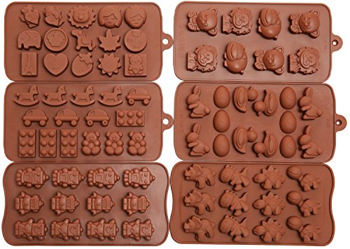 Best Price 6pc Candy Molds, Chocolate Molds, Silicone Molds, Soap Molds, Silicone Baking Molds-6pc V...