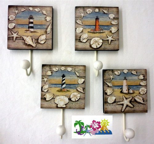 """Set Of 4 Lighthouse Design Towel Hooks - Nautical Theme - Overall Hook Is 7.75"""" X 4.75"""" - 4.75"""" Square Not Including The Hook - Comes Packaged With A Credit Card Sized Tropical Magnet Featuring A Starfish, Sailboat, Anchor And Shells front-735196"""