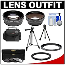 Bower FA-DC67A Adapter Ring for Canon PowerShot SX40, SX50, SX520 & SX60 HS Camera (67mm) with .45x Wide Angle & 2x Telephoto Lenses + 3 UV/CPL/ND8 Filters + Tripod + Case + Kit