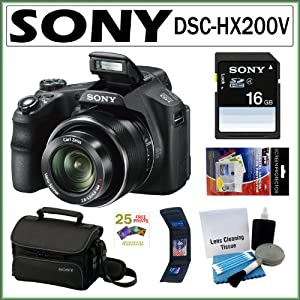 Sony DSC-HX200 Cyber-shot DSC-HX200V 18.2MP Exmor R CMOS Digital Camera with 30x Optical Zoom and 3.0-inch LCD + Sony 16GB SD Card + Sony Case + Accessory Kit