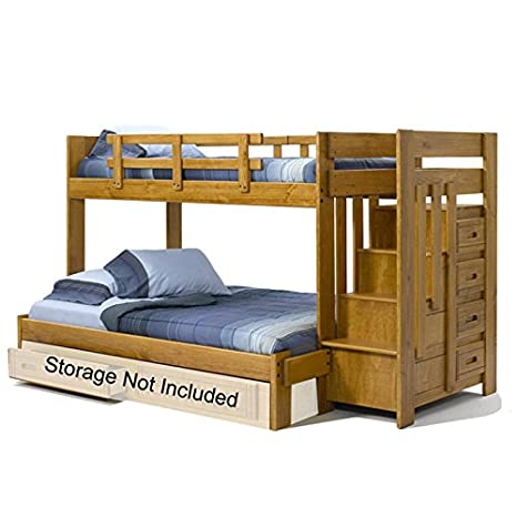 Twin-over-Full Bunk Bed with Left Stairway Chest