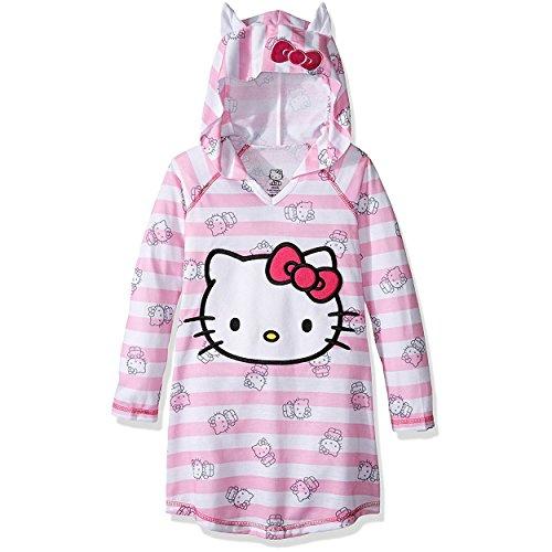 [Hello Kitty Big Girls' Hooded Dorm, Pink, Large] (Hello Kitty Ears)