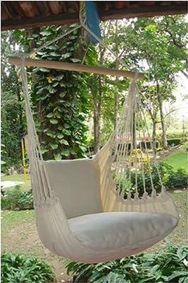 Hängesessel Hängematte Hängestuhl Hängeschaukel Hängesitz Natur XL mit 2 Kissen aus 100 % Baumwolle 3 Jahre Garantie von ElSalvador bei Gartenmöbel von Du und Dein Garten