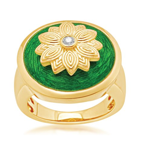 Jewelili 18k Gold Plated Sterling Silver with Translucent Green Enamel Diamond Ring (0.04 Cttw, IJ Colour, I2/I3 Clarity), Size 7