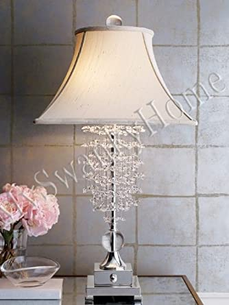 Dazzling crystal waterfall table lamp contemporary art for Waterfall lamp shade