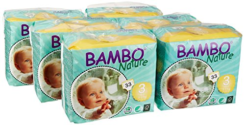 Bambo Nature Premium Baby Diapers, Midi, Size 3, 33 Count (Pack of 6)