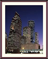 City of Houston by Night Photograph - Beautiful approx. 24x28-inch Framed & Matted Photographic Print by Carol M. Highsmith