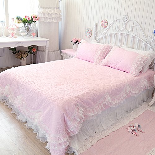 FADFAY Home Textile,Korean White Lace Bedding Sets,Beautiful Princess Bedding,Romantic Wedding Bedding Set,4Pcs