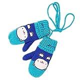 Baby Cute Cartoon cara de gato de lana para tejer guantes azul A-blue