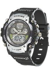 Cool Digital-analog Waterproof Dual Time Sport Wrist Watches for Boys Girls (Black, English Manual)