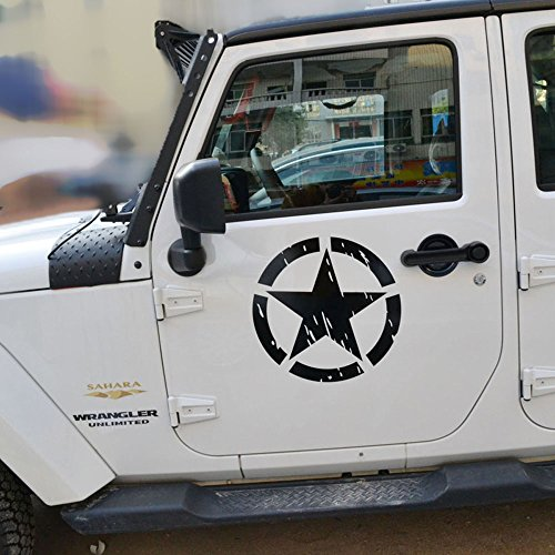 Opar Black US Army Military Star Side Decals for Jeep Wranglers