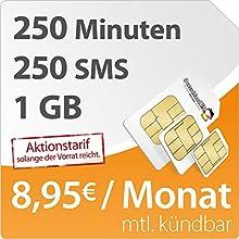 DeutschlandSIM SMART 1000 [SIM, Micro-SIM und Nano-SIM] monatlich kündbar (1GB Daten-Flat mit max. 7,2 MBit/s, 250 Frei-Minuten, 250 Frei-SMS, 8,95 Euro/Monat, 15ct Folgeminutenpreis) O2-Netz